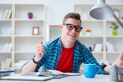 Il giovane adolescente che prepara per gli esami che studiano ad uno scrittorio all'interno Immagini Stock Libere da Diritti