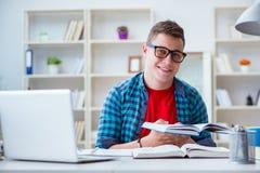 Il giovane adolescente che prepara per gli esami che studiano ad uno scrittorio all'interno Fotografie Stock Libere da Diritti