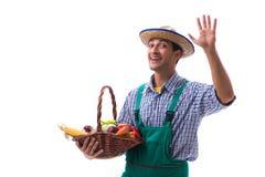 Il giovane agricoltore isolato sui precedenti bianchi Fotografia Stock