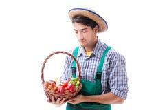 Il giovane agricoltore isolato sui precedenti bianchi Fotografie Stock