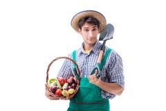 Il giovane agricoltore isolato sui precedenti bianchi Immagine Stock Libera da Diritti