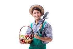 Il giovane agricoltore isolato sui precedenti bianchi Fotografie Stock Libere da Diritti