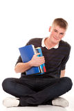 Il giovane allievo con il libro Fotografie Stock Libere da Diritti