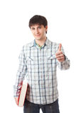 Il giovane allievo isolato su un bianco Immagine Stock