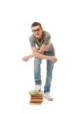 Il giovane allievo isolato su un bianco Fotografie Stock