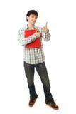 Il giovane allievo isolato su un bianco Fotografia Stock Libera da Diritti