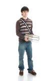 Il giovane allievo isolato su un bianco Fotografia Stock