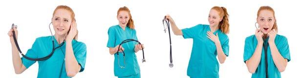 Il giovane apprendista medico con lo stetoscopio isolato su bianco Fotografie Stock Libere da Diritti