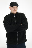 Uomo arrabbiato con black hat Fotografie Stock Libere da Diritti