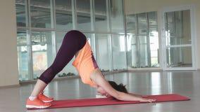 Il giovane atleta femminile fa l'esercizio d'allungamento difficile sulla stuoia della palestra mentre si prepara nella palestra Fotografia Stock