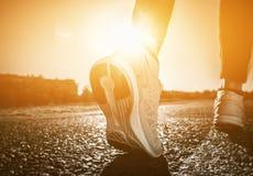Il giovane atleta in scarpe da tennis fa l'allenamento e gli esercizi di mattina dell'estate Fotografia Stock