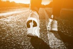 Il giovane atleta in scarpe da tennis fa l'allenamento e gli esercizi di mattina dell'estate Immagine Stock Libera da Diritti