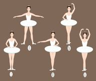 Il giovane ballerino esegue le cinque posizioni di balletto di base, illustrazione di stock