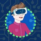 Il giovane che indossa i vetri di realtà virtuale 3d profila l'avatar dell'icona Immagini Stock