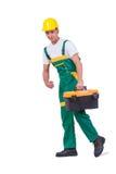 Il giovane con la cassetta portautensili della borsa degli arnesi isolata su bianco Fotografia Stock