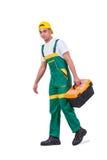 Il giovane con la cassetta portautensili della borsa degli arnesi isolata su bianco Immagini Stock
