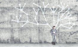 Il giovane con la compressa Fotografia Stock Libera da Diritti