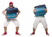 Il giovane con la valigia isolata su bianco immagine stock libera da diritti