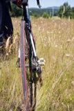 Il giovane conduce la bicicletta attraverso il campo con alta erba asciutta Immagini Stock Libere da Diritti