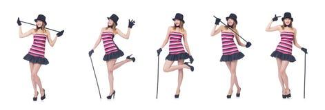 Il giovane dancing grazioso della donna con il bastone da passeggio isolato su bianco Fotografia Stock Libera da Diritti