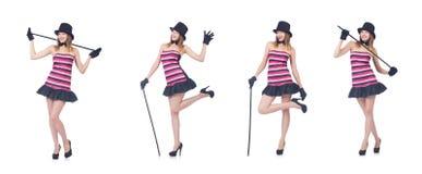 Il giovane dancing grazioso della donna con il bastone da passeggio isolato su bianco Fotografia Stock