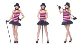 Il giovane dancing grazioso della donna con il bastone da passeggio isolato su bianco Fotografie Stock Libere da Diritti