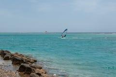 il giovane del windsurfer sull'fa windsurf sull'acqua di mare fotografia stock libera da diritti
