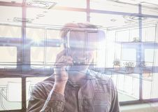 il giovane di affari con i vetri 3D nella sovrapposizione dell'ufficio con l'ufficio allinea Immagini Stock Libere da Diritti