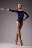 Il giovane e la ballerina incredibilmente bella è posanti e ballanti nello studio Fotografie Stock Libere da Diritti