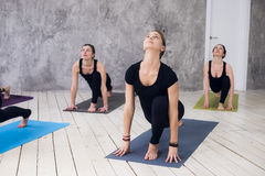 Il giovane gruppo allegro del trio di ragazze sta praticando gli esercizi di yoga nello studio Immagine Stock