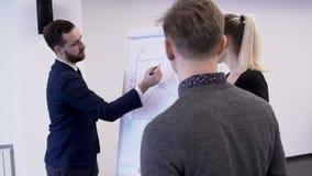 Il giovane gruppo professionale sta lavorando al progetto in ufficio moderno stock footage