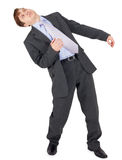 Il giovane ha perso il suo equilibrio dopo un colpo su bianco Immagine Stock