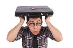 Il giovane impiegato con la cartella isolata sopra Fotografie Stock