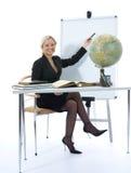 Il giovane insegnante insegnerà alla geografia immagini stock libere da diritti