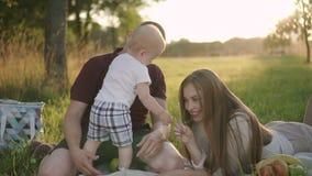 Il giovane, la donna ed il primo bambino hanno buon fine settimana nel parco naturale archivi video