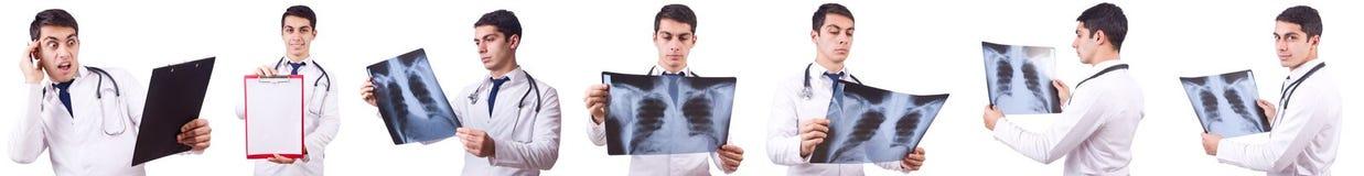 Il giovane medico maschio isolato su bianco Fotografia Stock Libera da Diritti