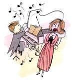Il giovane pianista e una donna di canto Fotografia Stock Libera da Diritti