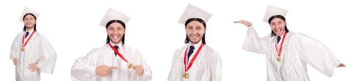Il giovane pronto per la graduazione dell'università Fotografie Stock Libere da Diritti