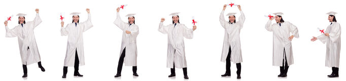 Il giovane pronto per la graduazione dell'università Fotografia Stock Libera da Diritti