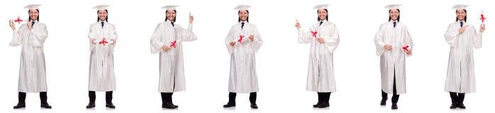 Il giovane pronto per la graduazione dell'università Fotografia Stock