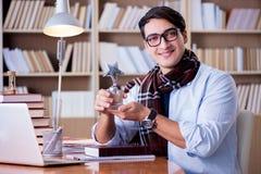 Il giovane scrittore che lavora nella biblioteca Immagini Stock Libere da Diritti