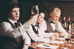 Il giovane sommelier con esperienza esamina il sedimento di vino in vetro Assaggio di vino fotografie stock
