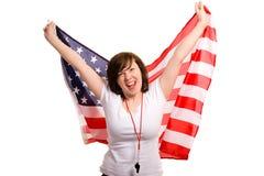 Il giovane sostenitore femminile degli S.U.A. team, isolato Immagini Stock Libere da Diritti