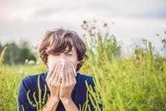 Il giovane starnutisce a causa di un'allergia all'ambrosia Fotografia Stock Libera da Diritti