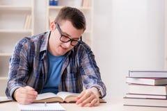 Il giovane studente che prepara agli esami della scuola con i libri Fotografia Stock
