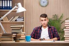 Il giovane studente che prepara per gli esami della scuola Fotografia Stock