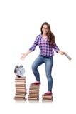 Il giovane studente che prepara per gli esami della scuola Immagine Stock