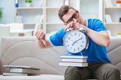 Il giovane studente che prepara per gli esami che studiano a casa su un sofà Immagine Stock Libera da Diritti