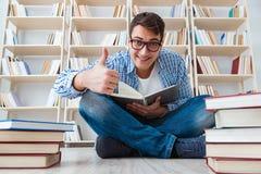Il giovane studente che studia con i libri Immagine Stock Libera da Diritti