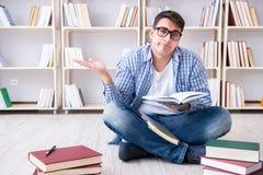 Il giovane studente che studia con i libri Fotografie Stock Libere da Diritti